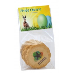 Colour printed biscuit bag with printed tag