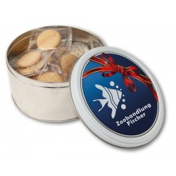 Small round tin with biscuits