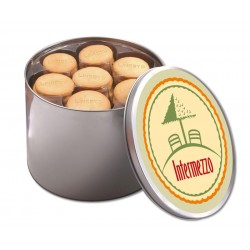 Round tin, embosseded  biscuits in tray